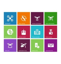 Components and equipment for quadrocopter icons on vector