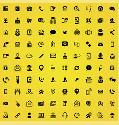 contact us 100 icons universal set for web and ui vector image
