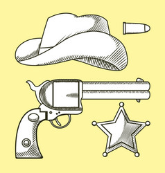 cowboys elements hand drawn cartoon vector image