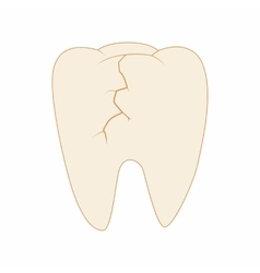 Cracked tooth icon cartoon style vector