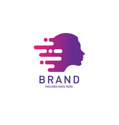 creative woman head logo brain vector image