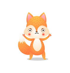 Cute fox in protective pose raster vector