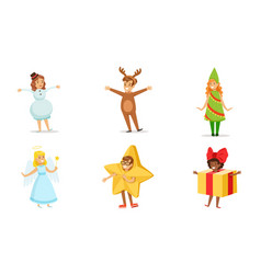 cute kids wearing christmas costumes set boys and vector image