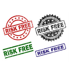 Damaged textured risk free seal stamps vector
