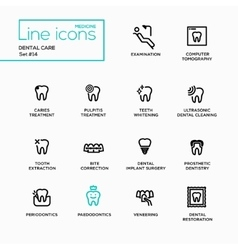 Dental Care - Single Line Pictograms Set vector