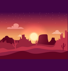 desert sunset silhouette landscape arizona or vector image