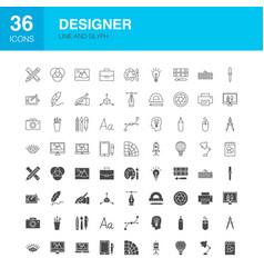 designer line web glyph icons vector image