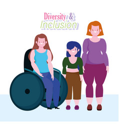 diversity and inclusion woman on wheelchair short vector image