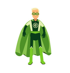 Ecological superhero man in green costume eco vector