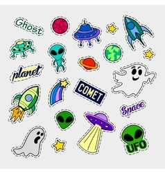 Fashion patch badges UFO set Stickers pins vector image