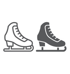 figure skating line and glyph icon activity and vector image
