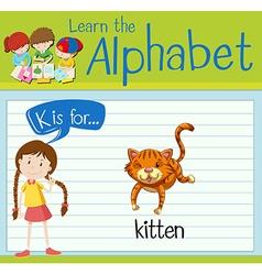 Flashcard letter K is for kitten vector