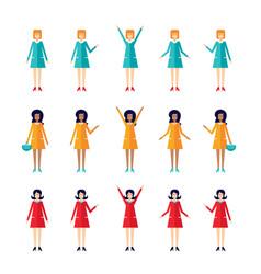 flat design cartoon character set housewife vector image