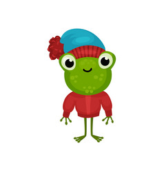 funny humanized frog in warm sweater and hat vector image