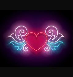 glow signboard with ornate heart vector image