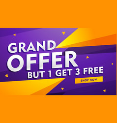 Grand offer poster banner design for faishon and vector