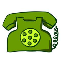 green retro telephone on white background vector image