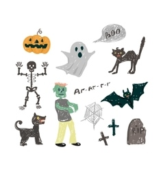 halloween icon set vector image
