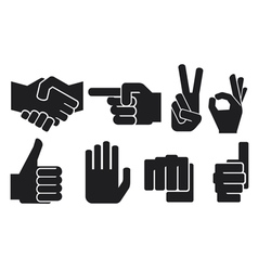 hand gesture silhouettes vector image