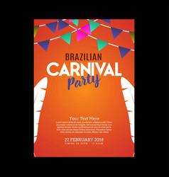 Happy brazilian carnival day orange carnival vector