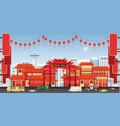 happy chinese new year greeting card with china vector image