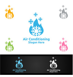 Hot snow air conditioning and heating services vector