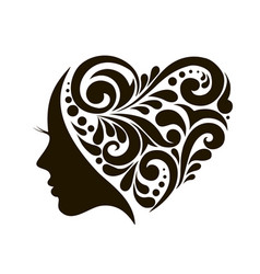 Icon young woman with heart patterns vector