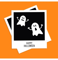 Instant photo with Two funny ghosts Halloween vector image