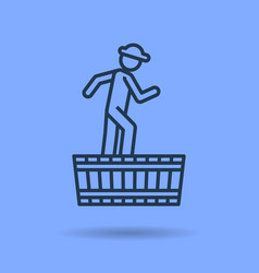 isolated icon of male worker pressing grapes vector image