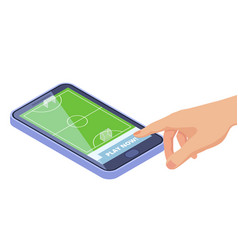 isometric football field on smartphone - sport vector image