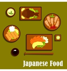 Japanese traditional seafood cuisine icons vector image