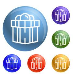 jewish gift box icons set vector image
