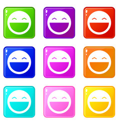 Laughing emoticons 9 set vector