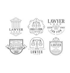 lawyer retro logo set law firm premium business vector image