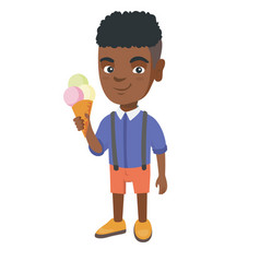 little african boy holding an ice cream cone vector image