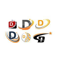 Logotype d modern template set vector