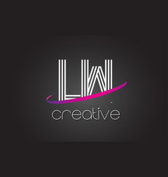 lw l w letter logo with lines design and purple vector image