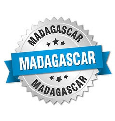 Madagascar round silver badge with blue ribbon vector