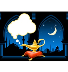 magic lamp and arabic city skyline vector image