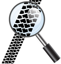 Magnifying glass icon trail tires vector image