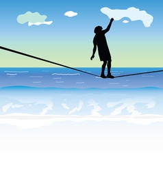 Man walking on the tightrope above the sea vector