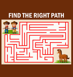 Maze game finds the coboy and cowgirl way get to h vector