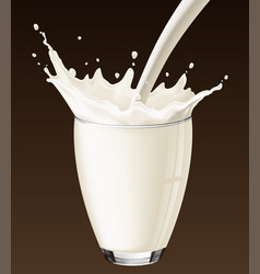 Milk splash in the glass on the brown background vector