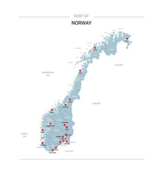 Norway map with red pin vector