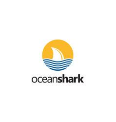 ocean shark logo design concept vector image