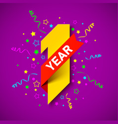 one year anniversary celebration card design vector image
