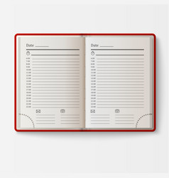 Open realistic notebook with pages diary office vector