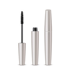 Opened closed mascara on white background vector