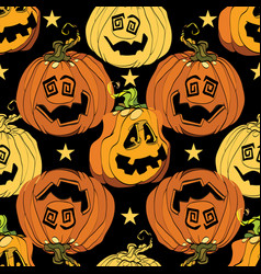 orange halloween pumpkins smiling repeat pattern vector image