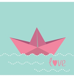 Origami paper boat and waves vector